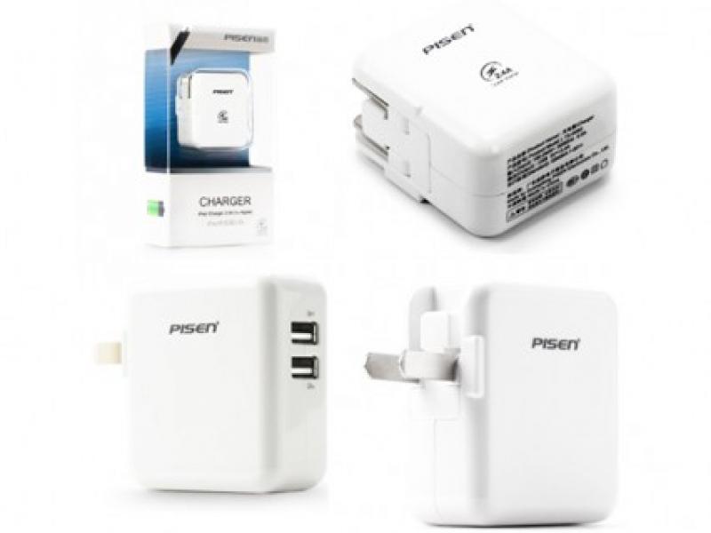 Sạc PISEN Dual USB iPad Adapter Charger 1A & 2A